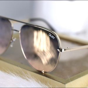 Quay Sunglasses High Key Gold Rose lenses aviator